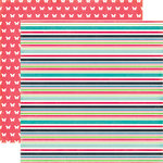 Echo Park - We Are Family Collection - 12 x 12 Double Sided Paper - Family Stripe