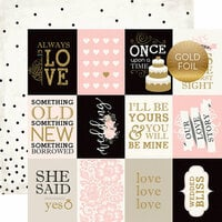 Echo Park - Wedding Bliss Collection - 12 x 12 Double Sided Paper with Foil Accents - 3 x 4 Journaling Cards