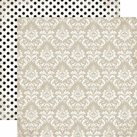 Echo Park - Wedding Bliss Collection - 12 x 12 Double Sided Paper - Dearly Beloved Damask