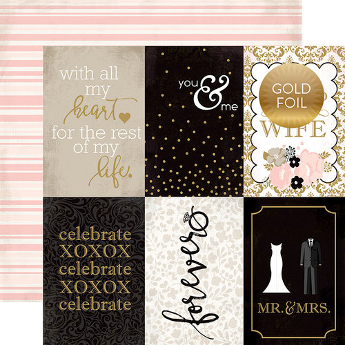 Echo Park - Wedding Bliss Collection - 12 x 12 Double Sided Paper with Foil Accents - 4 x 6 Journaling Cards