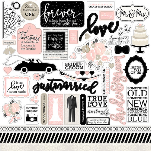 Echo Park - Wedding Bliss Collection - 12 x 12 Cardstock Stickers