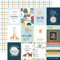 Echo Park - Welcome Baby Boy - 12 x 12 Double Sided Paper - 3 x 4 Journaling Cards