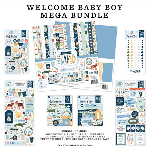 Echo Park - Welcome Baby Boy - 12 x 12 Mega Bundle
