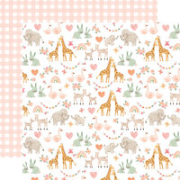 Echo Park - Welcome Baby Girl Collection - 12 x 12 Double Sided Paper - Baby Animals