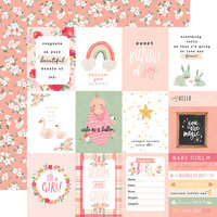 Echo Park - Welcome Baby Girl Collection - 12 x 12 Double Sided Paper - 3 x 4 Journaling Cards