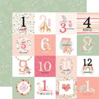 Echo Park - Welcome Baby Girl Collection - 12 x 12 Double Sided Paper - Milestone Journaling Cards