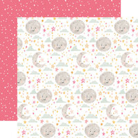 Echo Park - Welcome Baby Girl Collection - 12 x 12 Double Sided Paper - Moon and Stars