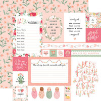 Echo Park - Welcome Baby Girl Collection - 12 x 12 Double Sided Paper - Multi Journaling Cards