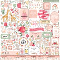 Echo Park - Welcome Baby Girl Collection - 12 x 12 Cardstock Stickers - Elements