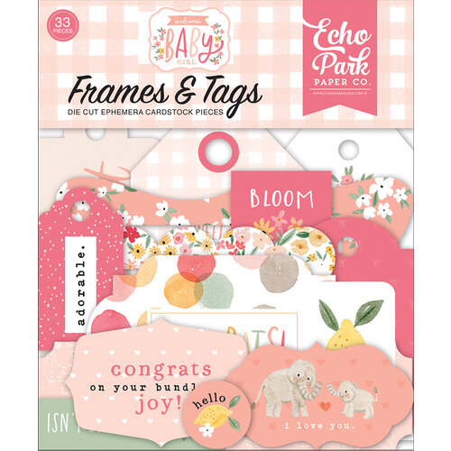 Echo Park - Welcome Baby Girl Collection - Ephemera - Frames and Tags