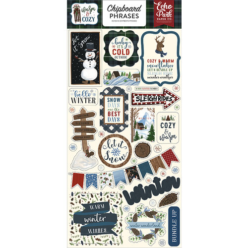 Echo Park - Warm and Cozy Collection - Chipboard Stickers - Phrases