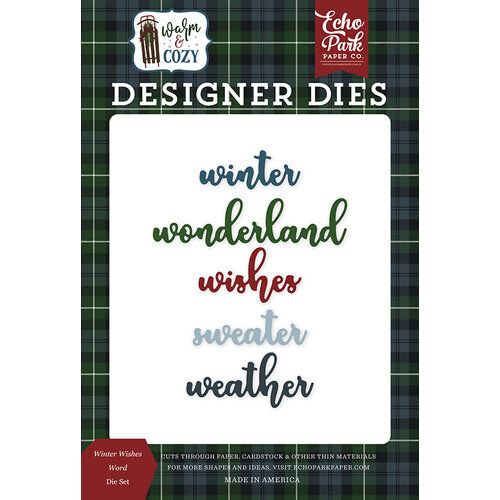 Echo Park - Warm and Cozy Collection - Designer Dies - Winter Wishes Word