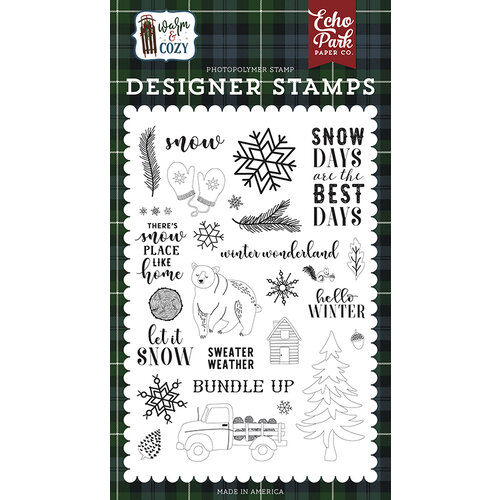 Echo Park - Warm and Cozy Collection - Clear Photopolymer Stamps - Snow Days