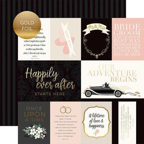 Echo Park - Wedding Day Collection - 12 x 12 Double Sided Paper with Foil Accents - Journaling Cards