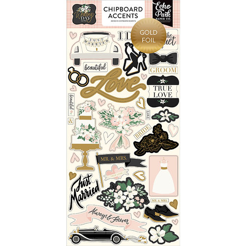 Echo Park - Wedding Day Collection - Chipboard Stickers - Accents