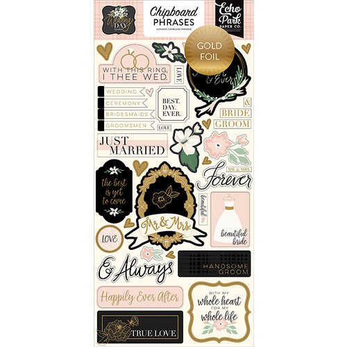 Echo Park - Wedding Day Collection - Chipboard Stickers - Phrases