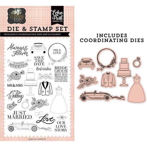 Echo Park - Wedding Day Collection - Designer Die and Clear Photopolymer Stamp Set - Our Love Story
