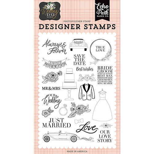 Echo Park - Wedding Day Collection - Clear Photopolymer Stamps - Our Love Story