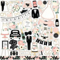 Echo Park - Wedding Collection - 12 x 12 Cardstock Stickers - Elements