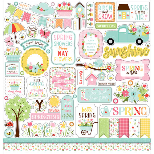 Echo Park - Welcome Spring Collection - 12 x 12 Cardstock Stickers - Elements