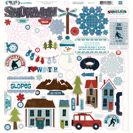 Echo Park - Winter Park Collection - 12 x 12 Cardstock Stickers - Elements
