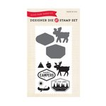 Echo Park - The Wild Life Collection - Designer Die and Clear Acrylic Stamp Set - Happy Camper