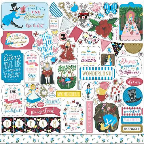 Echo Park - Alice In Wonderland No. 2 Collection - 12 x 12 Cardstock Stickers - Elements