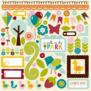 Echo Park - A Walk in The Park Collection - 12 x 12 Cardstock Stickers - Elements, CLEARANCE