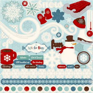 Echo Park - Wintertime Collection - 12 x 12 Cardstock Stickers - Element, BRAND NEW