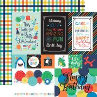 Echo Park - It's Your Birthday Boy Collection - 12 x 12 Double Sided Paper - Multi Journaling Cards