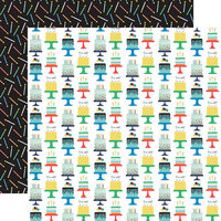 Echo Park - It's Your Birthday Boy Collection - 12 x 12 Double Sided Paper - Birthday Boy Cakes