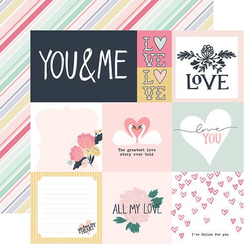 Echo Park - You and Me Collection - 12 x 12 Double Sided Paper - Multi Journaling Cards