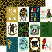 Echo Park - Animal Safari Collection - 12 x 12 Double Sided Paper - 3 x 4 Journaling Cards