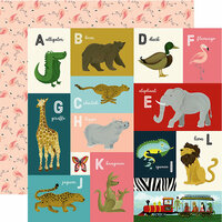 Echo Park - Animal Safari Collection - 12 x 12 Double Sided Paper - A-L Animal Alphabet Cards