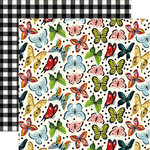 Echo Park - Animal Safari Collection - 12 x 12 Double Sided Paper - Butterfly Kisses