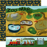 Echo Park - Animal Safari Collection - 12 x 12 Double Sided Paper - Zoo Map