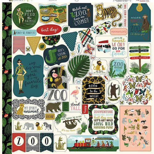 Echo Park - Animal Safari Collection - 12 x 12 Cardstock Stickers - Elements