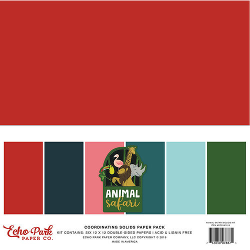 Echo Park - Animal Safari Collection - 12 x 12 Paper Pack - Solids