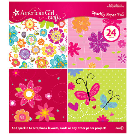 EK Success - American Girl Crafts - 8.5 x 8.5 Sparkly Paper Pad with Glitter Accents, CLEARANCE