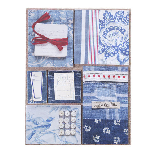 EK Success - Jolee's Boutique - French General Collection - Bleu Fabric Remnants