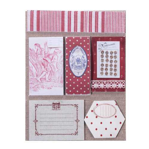 EK Success - Jolee's Boutique - French General Collection - Red Fabric Remnants