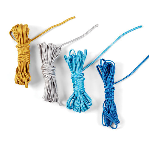 EK Success - Jolee's Boutique - Fabric Cord - Silver and Blue