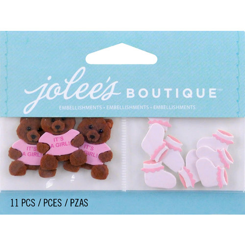 EK Success - Jolee's by You Redux - 3 Dimensional Embellishments - Baby Girl Bear and Booties