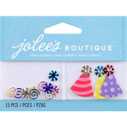 EK Success - Jolee's by You Redux - 3 Dimensional Embellishments with Foil Gem and Glitter Accents - Confetti and Party Hats