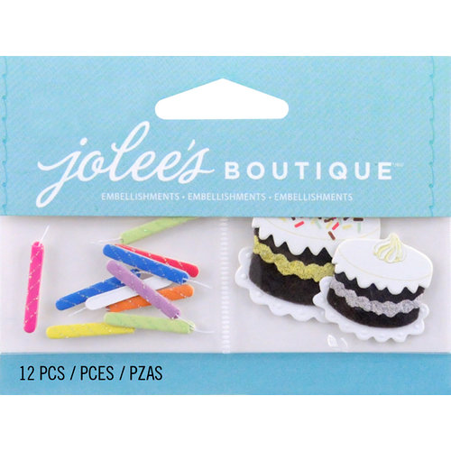 EK Success - Jolee's by You Redux - 3 Dimensional Embellishments with Gem Accents - Birthday Candles and Cakes