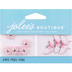 EK Success - Jolee's by You Redux - 3 Dimensional Embellishments with Gem Accents - Purple Daisies and Butterflies