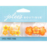 EK Success - Jolee's by You Redux - 3 Dimensional Embellishments with Gem Accents - Orange Felt Flowers