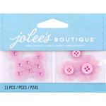 EK Success - Jolee's by You Redux - 3 Dimensional Embellishments with Gem Accents - Pink Vellum Flowers with Button Centers
