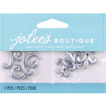 EK Success - Jolee's by You Redux - 3 Dimensional Embellishments with Gem Accents - Silver Flourish and Fleur De Lis