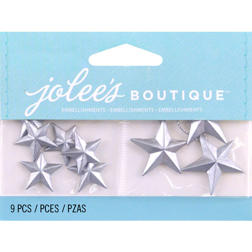 EK Success - Jolee's by You Redux - 3 Dimensional Embellishments - Silver Vintage Stars